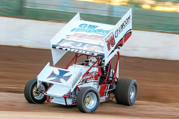 Gympie's Andrew Corbet in action at Maryborough Speedway.