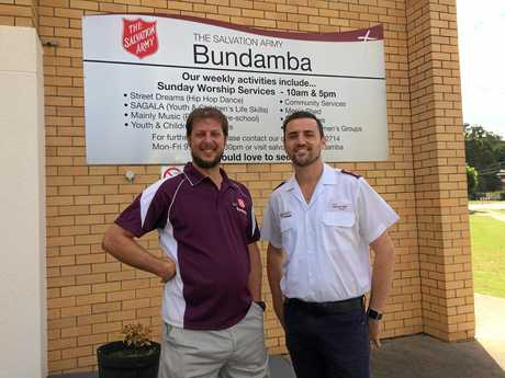 REBUILDING: Robert Lawrence with Ben Johnson at the Salvation Army Corps in Bundamba.