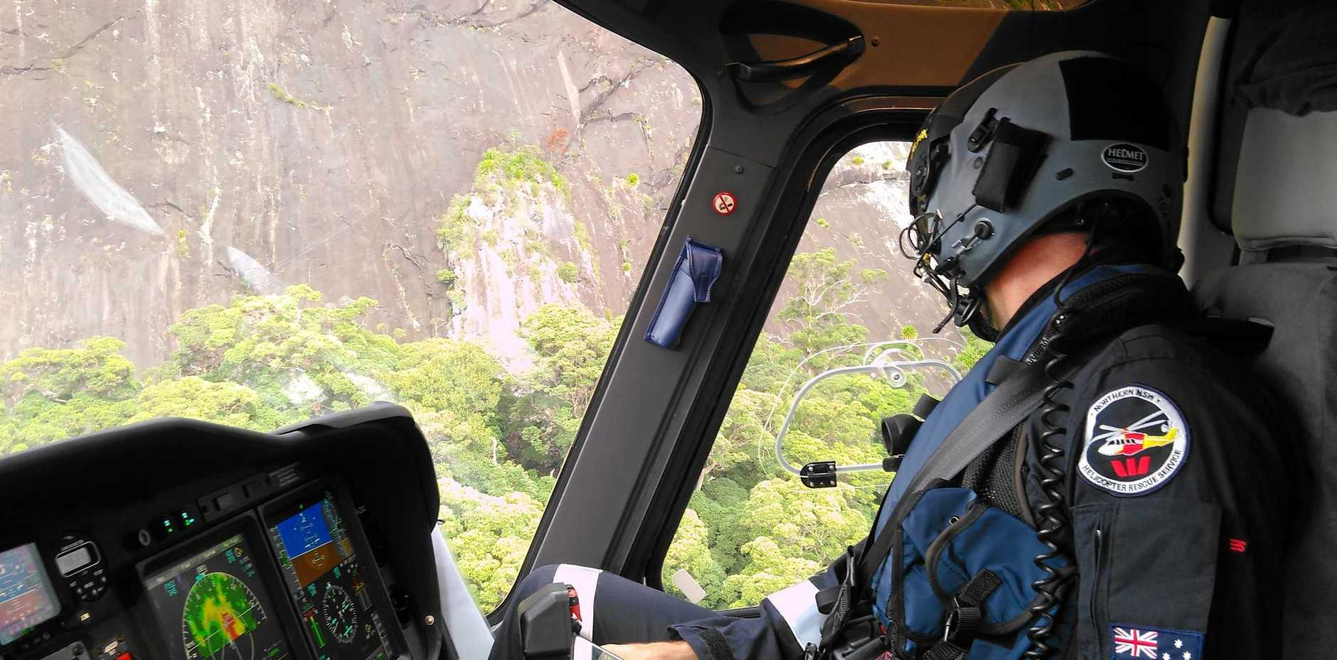 TRAGEDY: Westpac Lifesaver Rescue Helicopter crews joined the search for a missing plane near Murwillumbah.