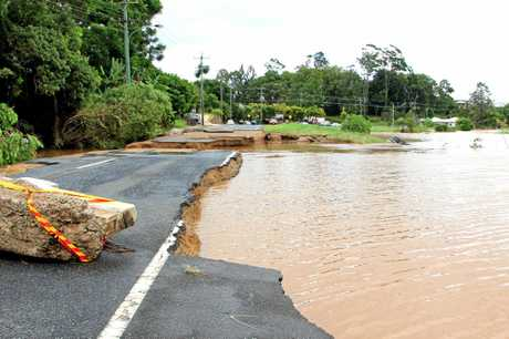 A large section of Tweed Valley Way was washed away at Murwillumbah.