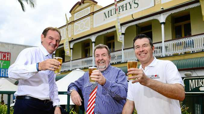 CHEERS: Ipswich councillors Mayor Paul Pisasale, Cr Paul Tully, and Cr Andrew Antoniolli see a bright future for Murphy's Town Pub.