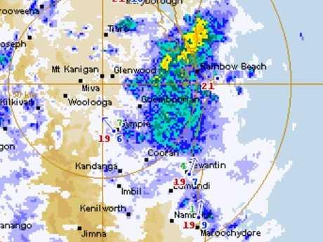 The Bureau of Meteorology rain radar shows showers heading south towards the Sunshine Coast.
