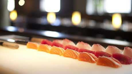 Sashimi sliced up by Shrestha at Sydney's Toko ... you should start with the lightest (white) fish first.