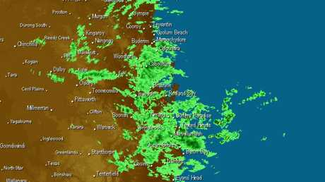 Radar image showing weather activity in south-east Queensland.
