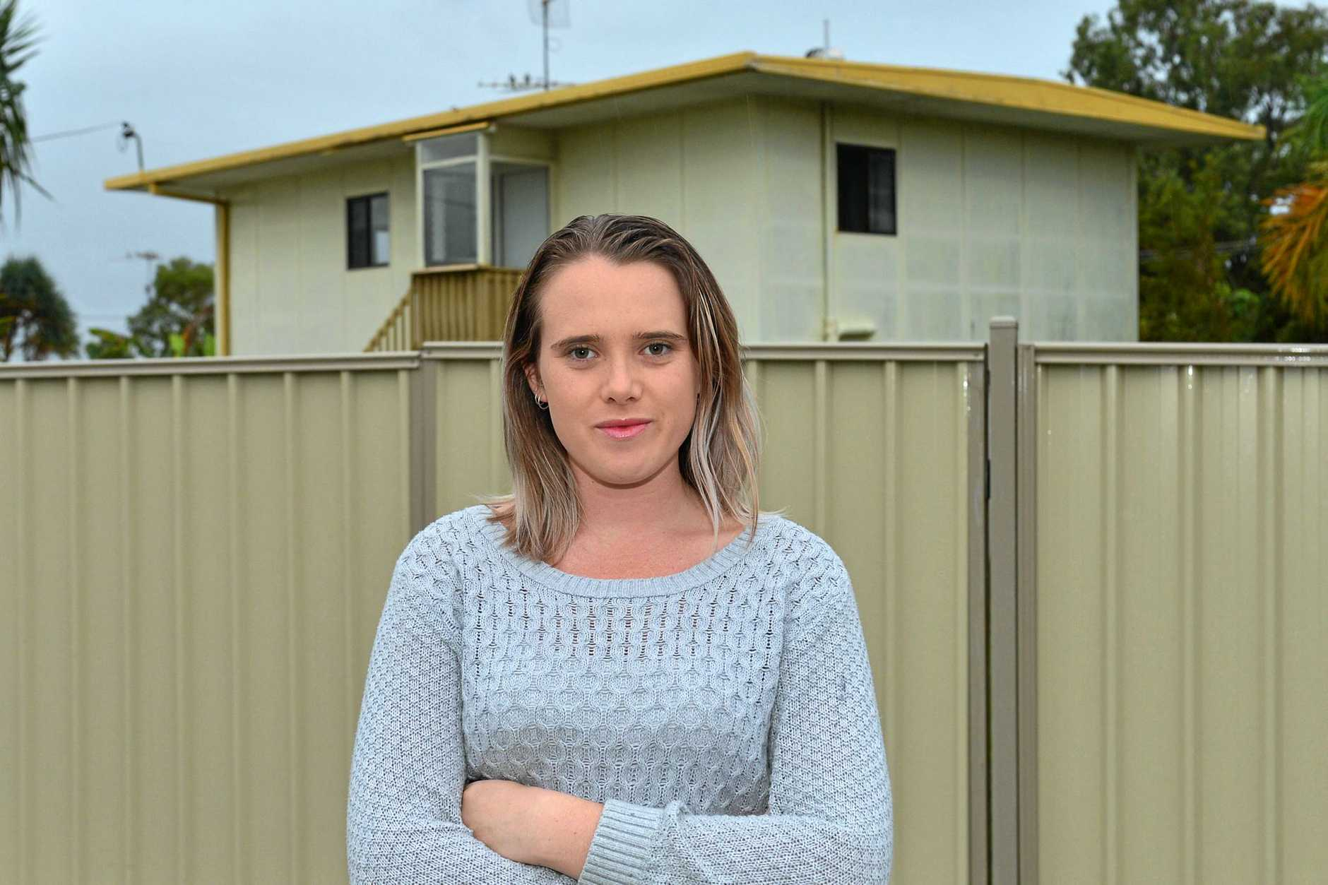 Alyx Wilson had to rent a $385 unit in Currimundi because the market was too competitive for cheaper rental housing. She is now renting a room from friends who own a house in Currimundi, and says its much more affordable.