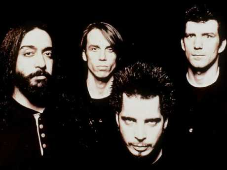 Soundgarden from left Kim Thayil (guitarist), Matt Cameron (drummer), Chris Cornell (singer), and Ben Shepherd (bassist) in 1996.