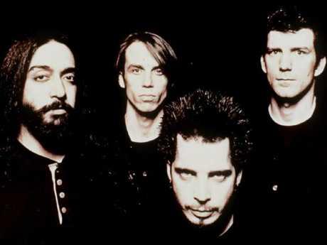 Soundgarden from left Kim Thayil (guitarist), Matt Cameron (drummer), Chris Cornell (singer), and Ben Shepherd (bassist) in 1996.