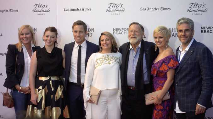 Celebrating Don't Tell's global premiere are (from left) director Tori Garrett, Sara West (plays Lyndal), producer Scott Corfield, Lyndal, Jack Thompson (plays Bob Myers) , Jodie Willey (formerly Collins played by Ashlee Lollback) and Stephen Roche.