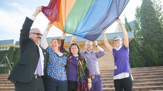 Taking part in IDAHOT DAY events at USQ (from left) Deputy Vice-Chancellor (Academic Services) Professor Ken Udas with Ally Network members Megan Cooper, Student Services Director Christie White, Dr Geoffrey Parks and Kate Charles.