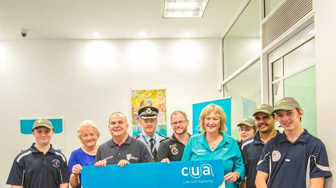 TRANSFORMATIVE: CUA Rockhampton has presented Project Booyah with $10,000 towards an early intervention program for at-risk young people. Pictured with participants are Cr Rose Swadling, CQU Prof William Blayney, acting superintendent Adam Muir, Snr Const Joe Ramsay and CUA branch manager Julieanne Wardrop.