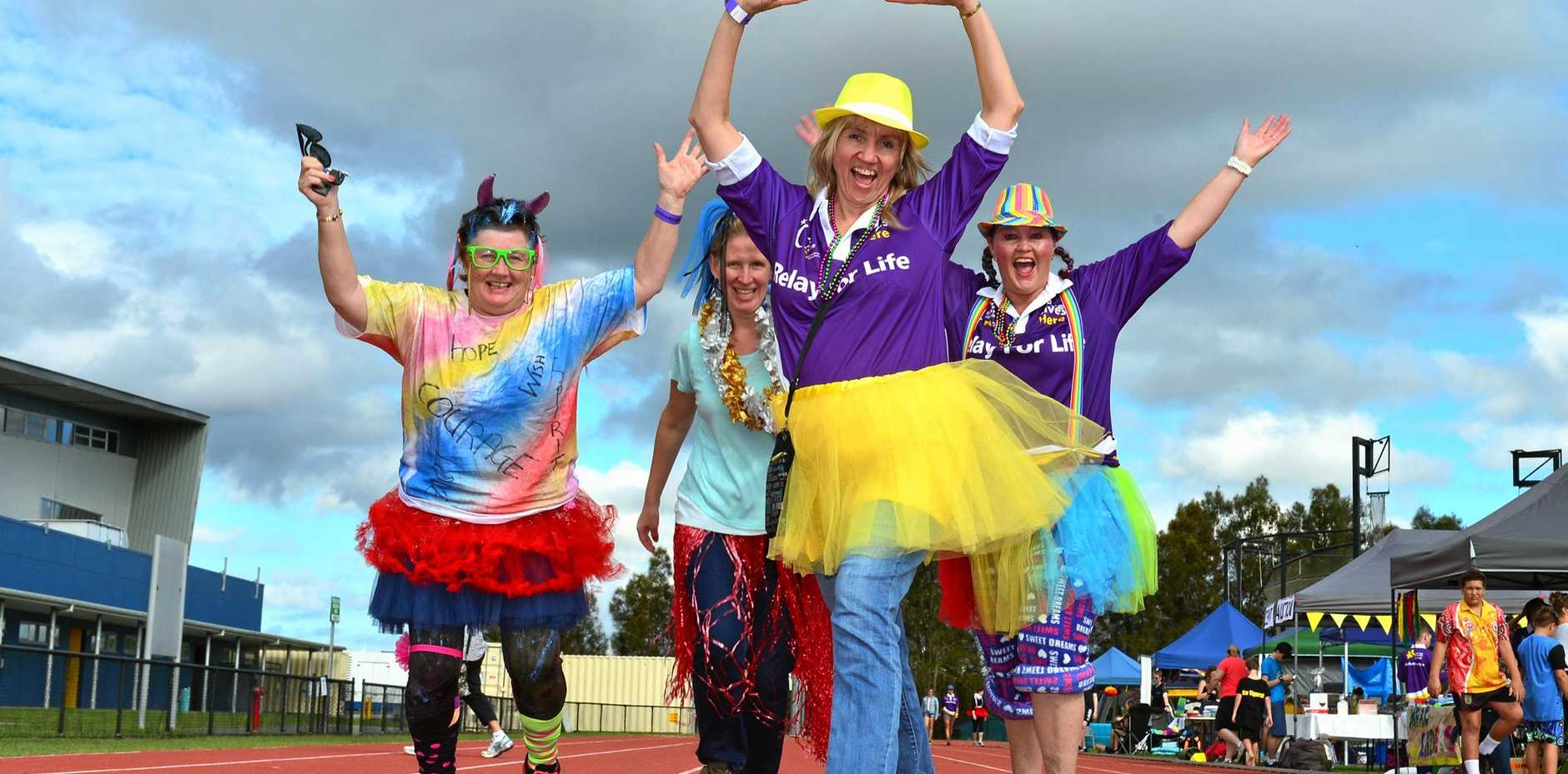 RELAY for Life participants Del Cosgrove, Annemarie Morris, Kerry White and Liz Luhr of Kezzas' Tribe formed one of 57 teams that tok part in the 10th annual event at the University of the Sunshine Coast.