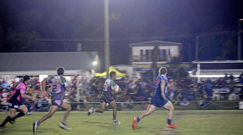 George Prior runs away with it for the Whitsunday Brahmans against Moranbah Miners at Denison Park in Bowen on Saturday night.
