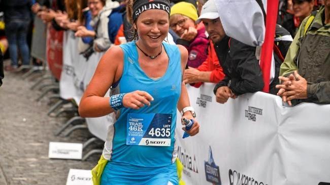 Lucy Bartholomew on her way to winning Ultra-Trail Australia 100km title.