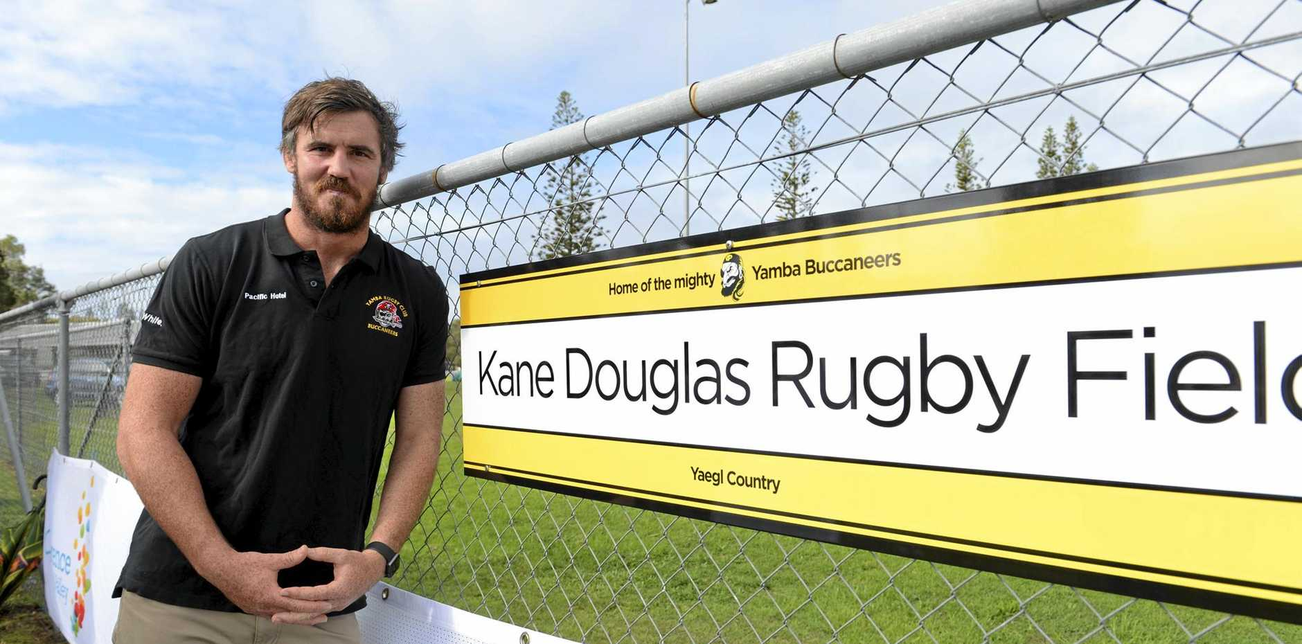 Australian Wallaby Kane Douglas at the naming of the Kane Douglas Rugby Field at the Yamba Buccaneers home ground on Saturday, 20th May 2017.