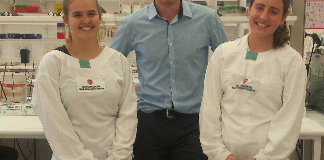 Jessie Lilford, Dr Liam St Pierre and Ellie de Jong in the QIMR Berghofer research laboratory.