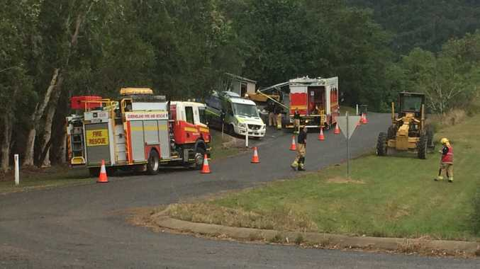 Emergency services set up an exclusion zone at a property in Kinchant Dam after a detonator was found.