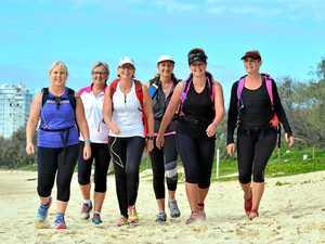 MADE FOR WALKING: Sandra Reardon, Susan Hirst, Tina Olson, Dianne Olson, Kim Cameron and Liz Ward in training for the Melbourne Coastrek .