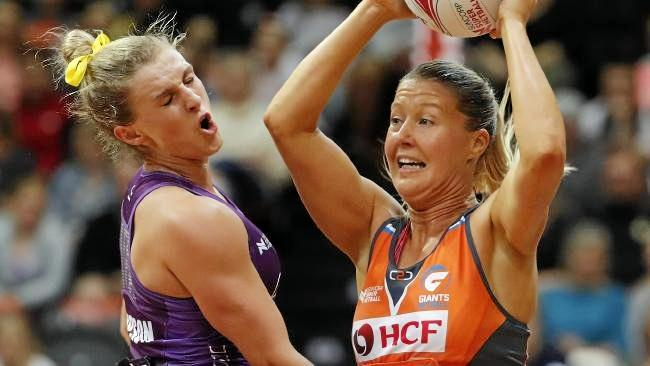 Gabi Simpson cops one in the face during the clash with Giants.