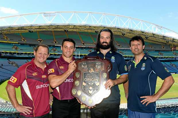 Maroons coach Kevin Walters, Cooper Cronk, Aaron Woods and Blues coach Laurie Daley pose for a photograph at the State of Origin Series launch at ANZ Stadium in Sydney