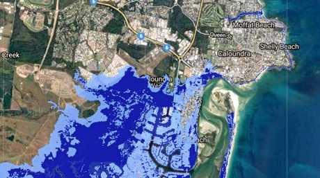 RISING: Predicted Currimundi-Bribie Island sea level rise effects. Dark blue: 2013 worst-case of 0.74m sea level rise. Light blue: 2017 worst-case of 2m sea level rise.