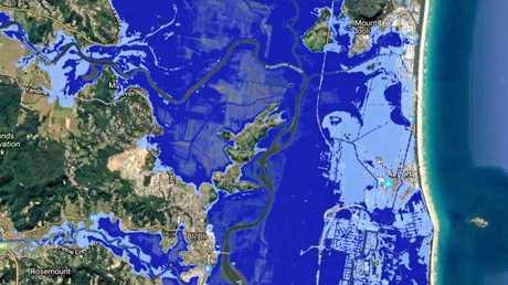 RISING: Predicted Yaroomba-Maroochydore sea level rise inundation. Dark blue: 2013 worst-case of 0.74m sea level rise. Light blue: 2017 worst-case of 2m sea level rise.