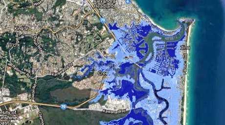 RISING: Predicted Maroochydore-Wurtulla sea level rise effects. Dark blue: 2013 worst-case of 0.74m sea level rise. Light blue: 2017 worst-case of 2m sea level rise.