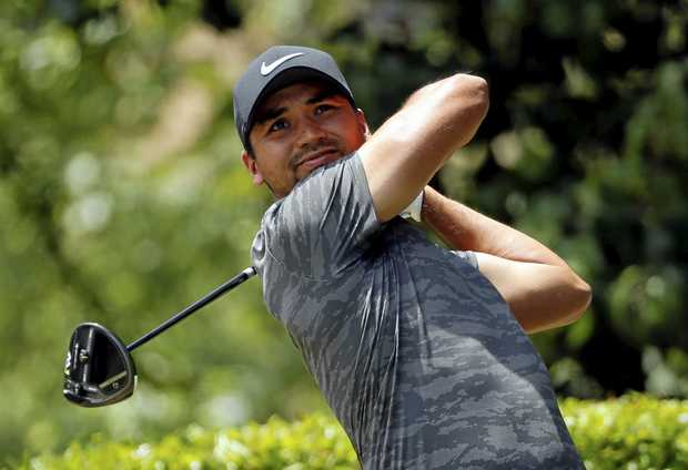 Jason Day hits off the first tee during the final round of the Byron Nelson golf tournament.