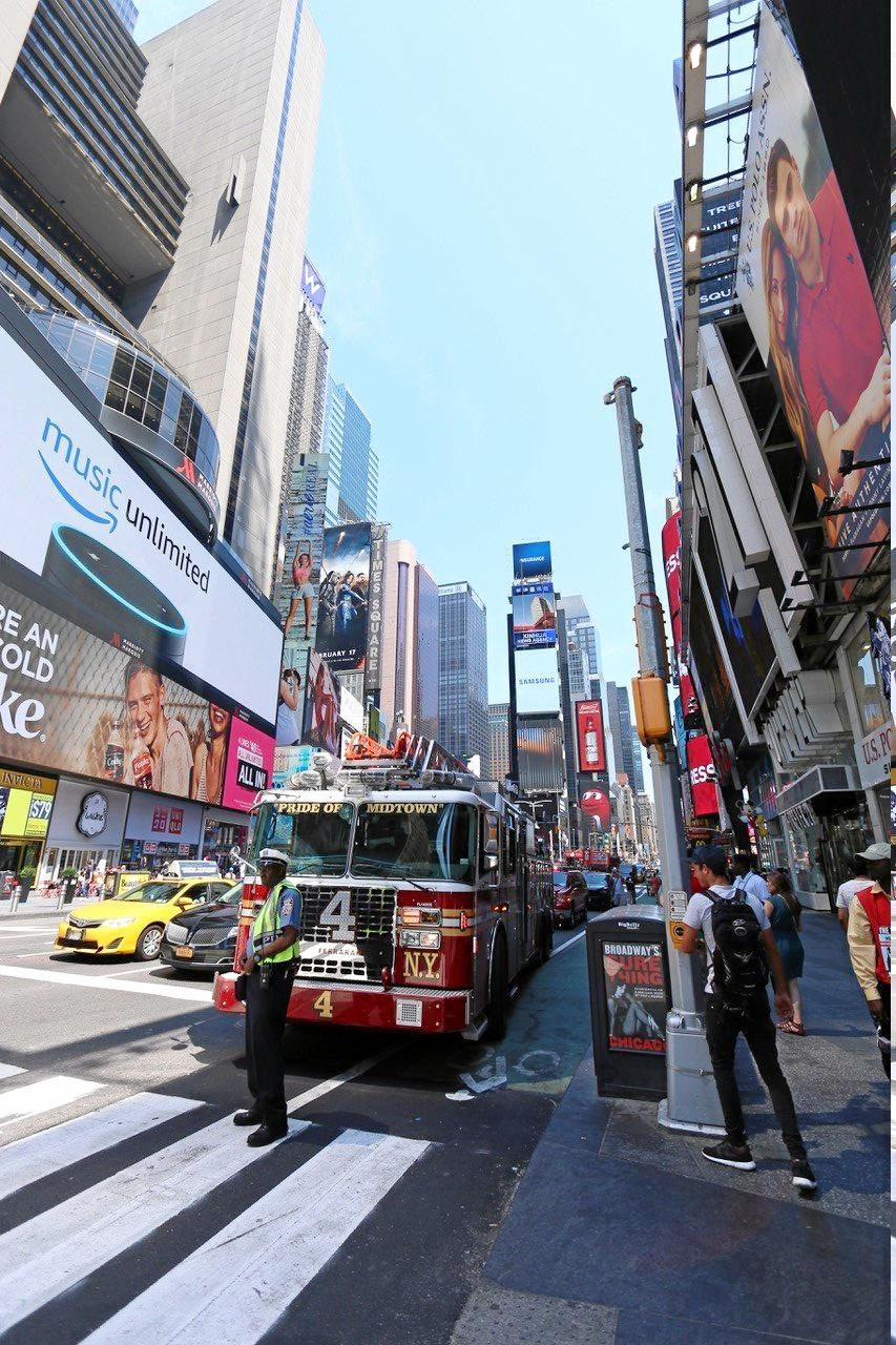 CLOSE CALL: A firetruck where Brooke Olive and her friends took happy snaps shortly before the horrific crash in Times Square, New York City on Thursday, May 18, 2017.
