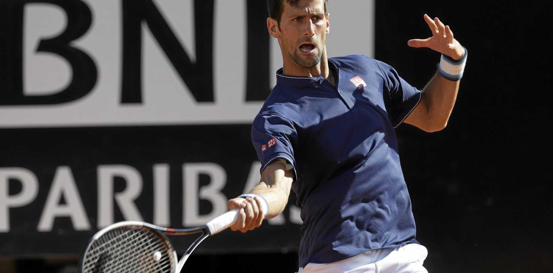 Novak Djokovic in action against Alexander Zverev in the Italian Open final.
