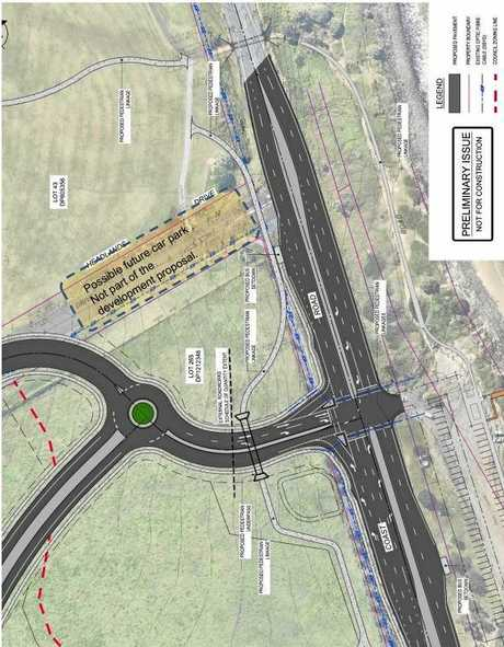Design plans for traffic lights at the intersection of The Coast Rd and Henderson Dr.