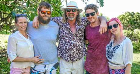 Steve Andrew with his sons Ollie (left) and Liam (right) and their resepctive partners Sam Howard and Lara Eisenkolb.
