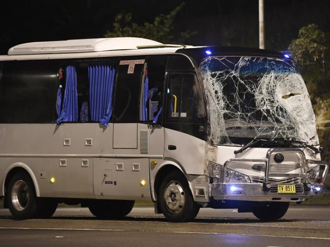 The bus sustained significant damage in the crash after it collided with the two vehicles. Picture: Gordon McComiskie Source:News Corp Australia