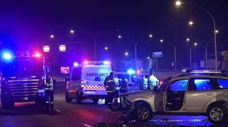 The woman had been driving in the right-hand lane when she was forced to pull over because of a flat tyre. Picture: Gordon McComiskieSource:News Corp Australia