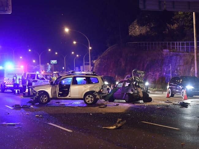 The carnage left behind following the fatal crash. Picture: Gordon McComiskie
