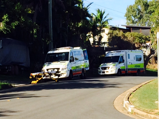 SERIOUS FALL: Two ambulances sit outside a West Gladstone home.