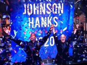 Dwayne Johnson, Tom Hanks announce White House bid on SNL