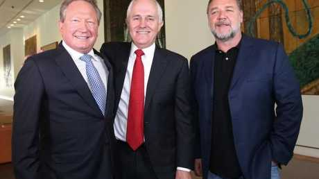 Andrew Forrest with PM Malcolm Turnbull and Russell Crowe.