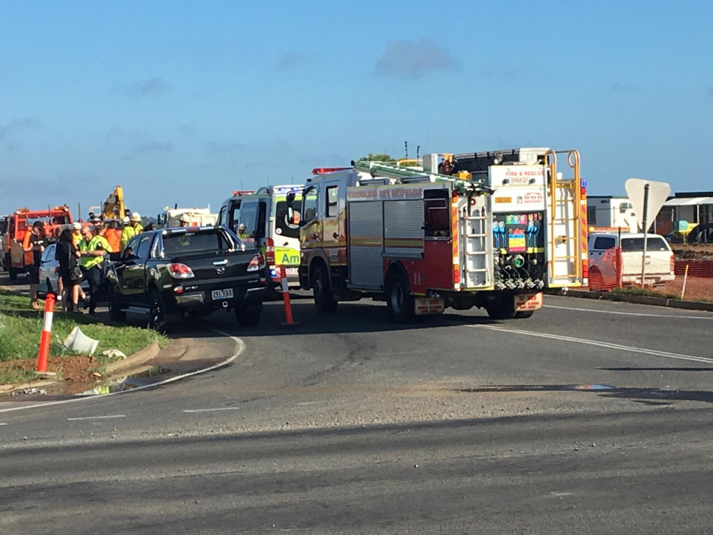 Emergency crews at the scene of a head on crash at the notorious Maryborough Hervey Bay Rd and Urraween Rd intersection.
