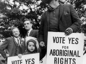 A supplied photo made available Wednesday, Sept. 9, 2009 of Bill Onus, President of the Victorian Aborigines' Advancement League (right), participating as the only Aboriginal in the march for Aboriginal Rights referendum on May 29, 1967. The photo is part of 'From Little Things Big Things Grow', an exhibition on indigenous rights which opens at the National Gallery of Australia today. (AAP Image/National Library of Australia) NO ARCHIVING, EDITORIAL USE ONLY