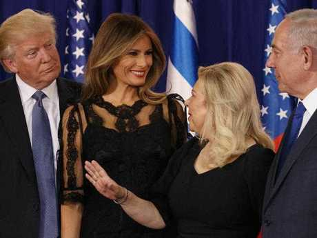 President Donald Trump and first lady Melania Trump stand with Israeli Prime Minister Benjamin Netanyahu and his wife Sara after delivering joint statements, Monday, May 22, 2017, in Jerusalem.