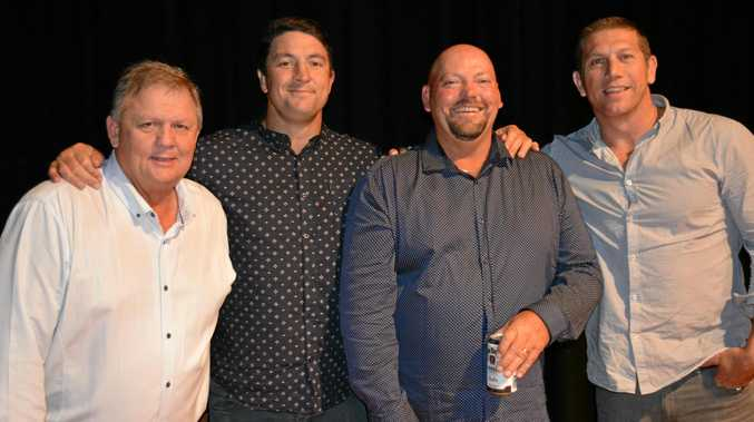 SPECIAL GUESTS: Gatton Hawks committee members Kelvin Haak and Kerry Hauser with Nathan Hindmarsh and Bryan Fletcher as the Fletch and Hindy Show came to Gatton on Friday night.