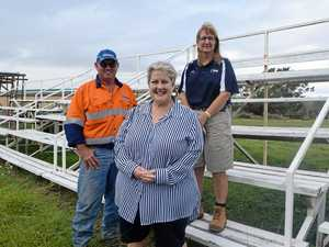 UP AND RUNNING: Vice President and show jumping steward of Show Whitsunday Kevin Krog, President Donna Rogers and treasurer Helen Wright on the grandstand at Proserpine Showgrounds.