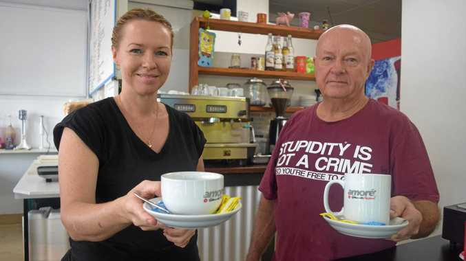 HAVE A CUPPA: Megan and Jeff Cannings are back to business at Cafe on Main in Proserpine after the store was destroyed by Cyclone Debbie in March.