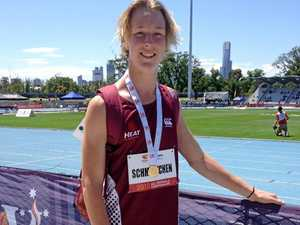CHAMPION JUMPER: Ben Schmidtchen wears his gold medal at the Australian All Schools Championships in Melbourne.  Photo Contributed / Caboolture News
