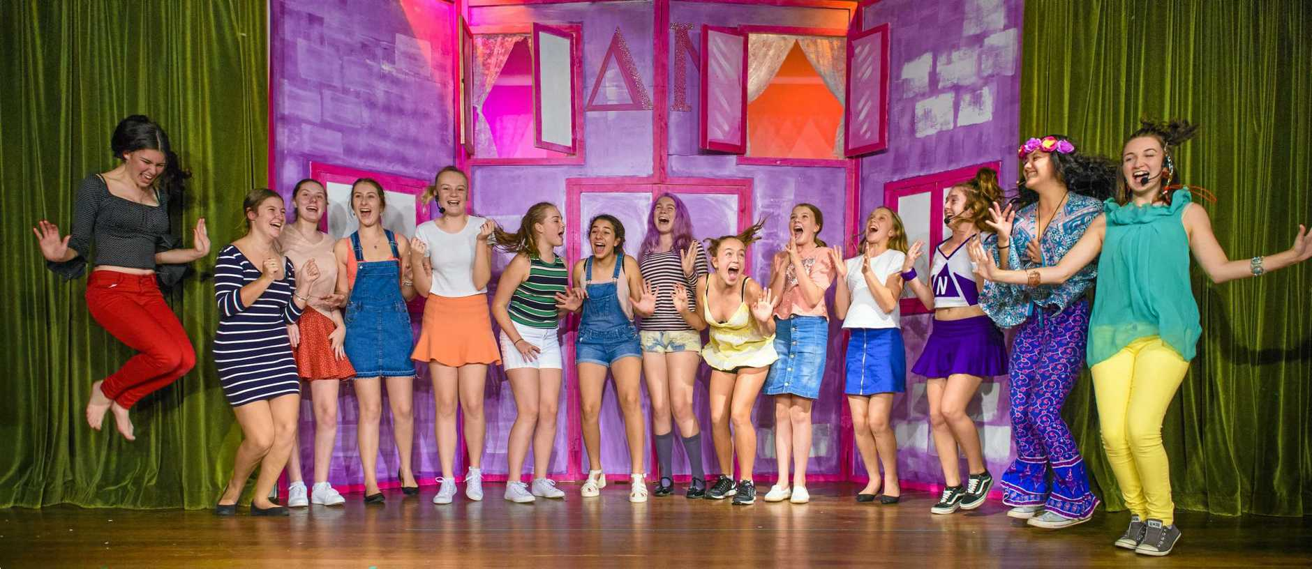 A scene from rehearsals for Maclean High's production of Legally Blonde: The Musical.