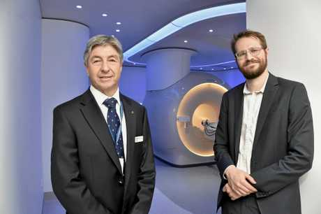 Toowoomba Hospital has its first MRI machine. Acting DDHHS board chair Dr Dennis Campbell (left) and Toowoomba Hospital MRI team leader Alastair Collett. May 2017