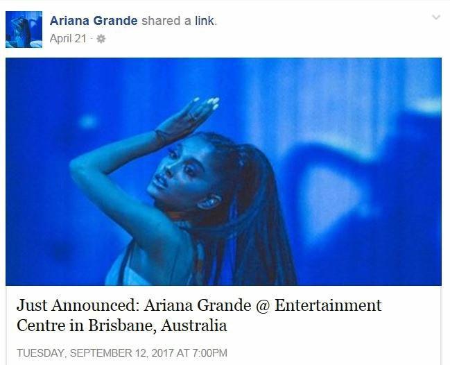 Ariana Grande announces her Brisbane concert for September.