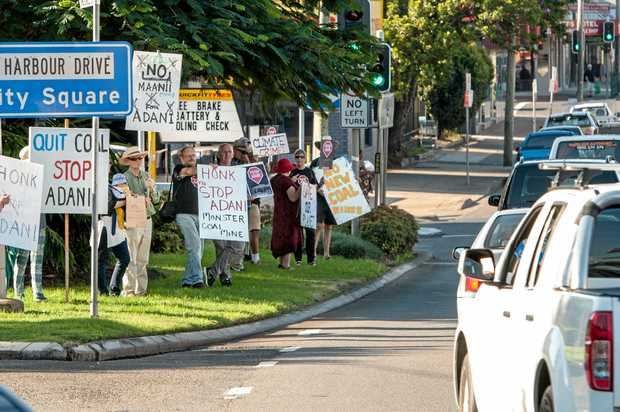 Protesters stopped traffic today in the Coffs City Centre.