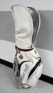 IN CUSTODY: The white Wilson Staff golf bag containing a set of clubs.