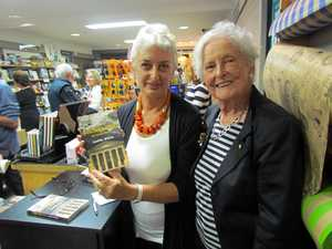 ART EXPOSURE: Margot Anthony (right) launching Judith White's new book Culture Heist - Art Versus Money at Kingscliff's Boardwalk Books.